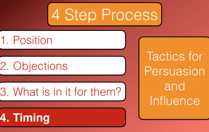 Tactics for persuasion and influence