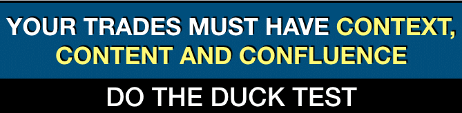 All traders must look for Context, Content and Confluence - Do the Duck Test