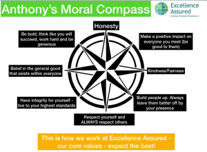 Anthony Beardsell's moral compass - Excellence Assured core values