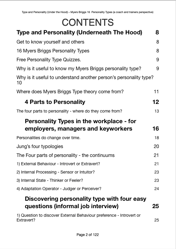 Type And Personality Under The Hood Myers Briggs 16 Personality