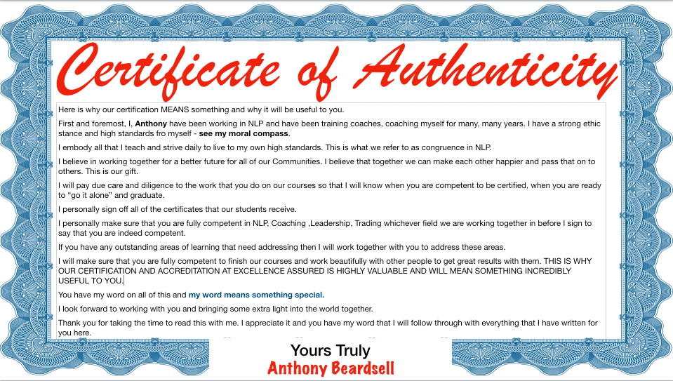 Coaching, NLP and Leadership Training certified and accredited online with authenticity